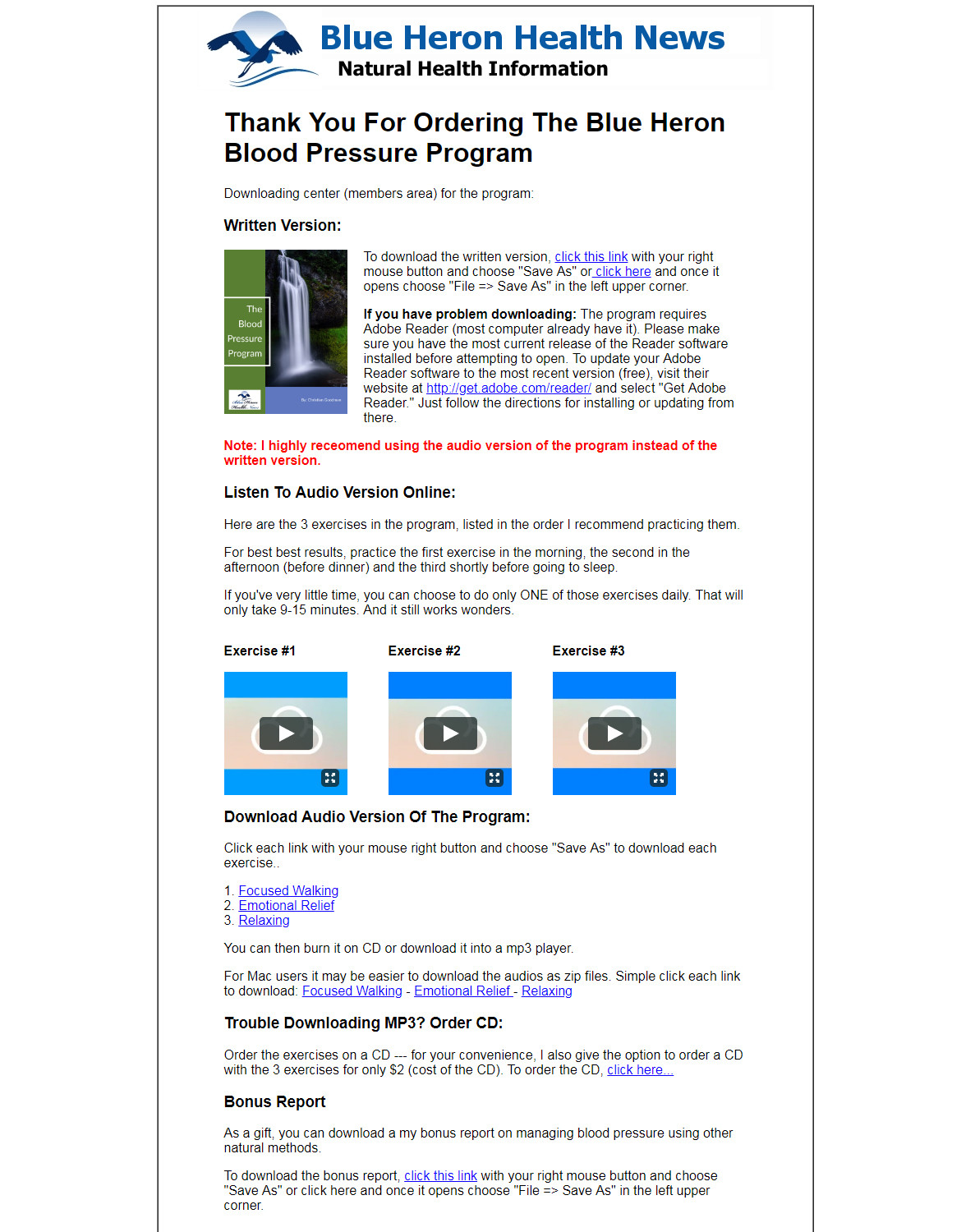 The Blood Pressure Program Download Page