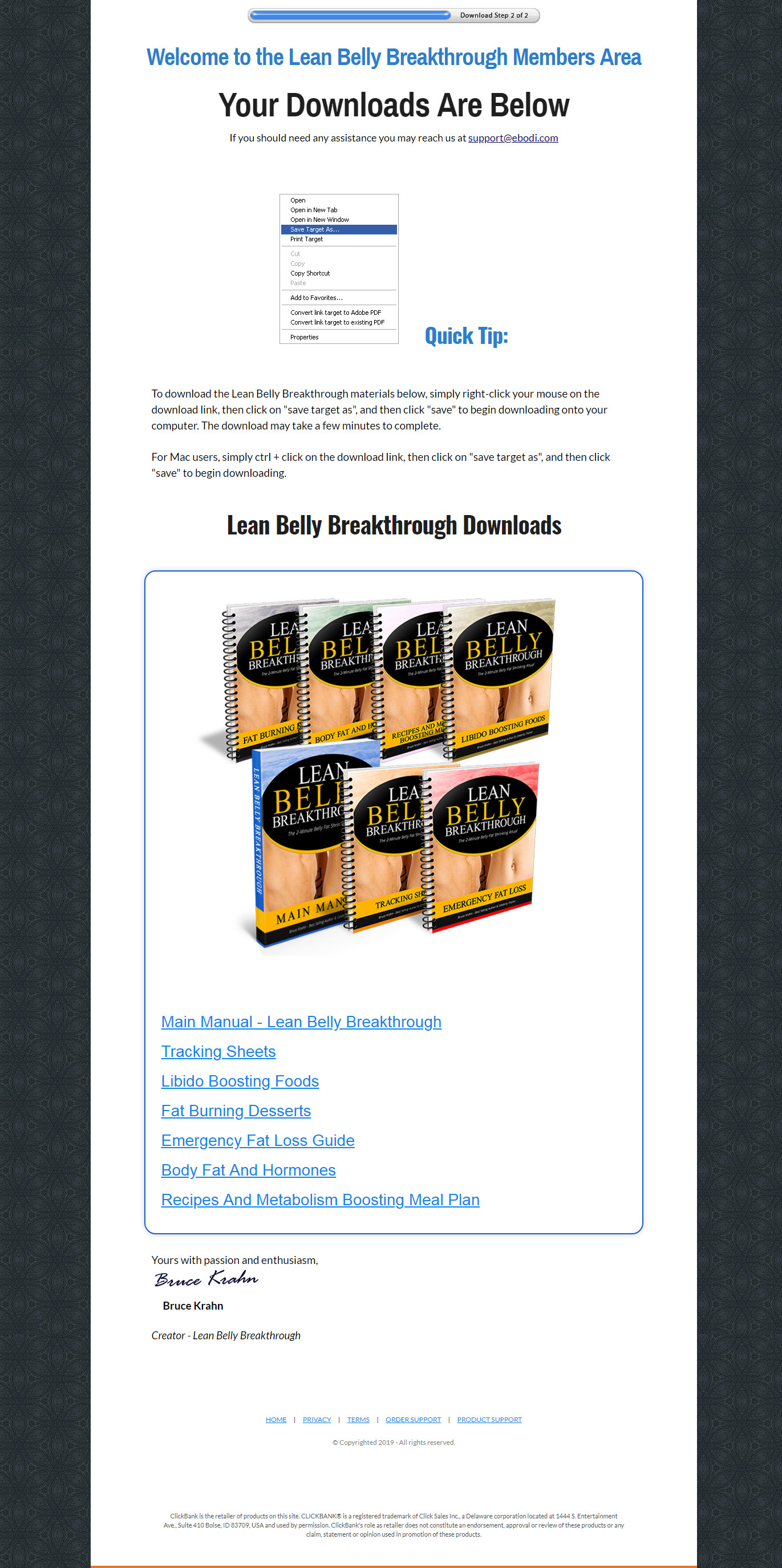 Lean Belly Breakthrough's Download Page