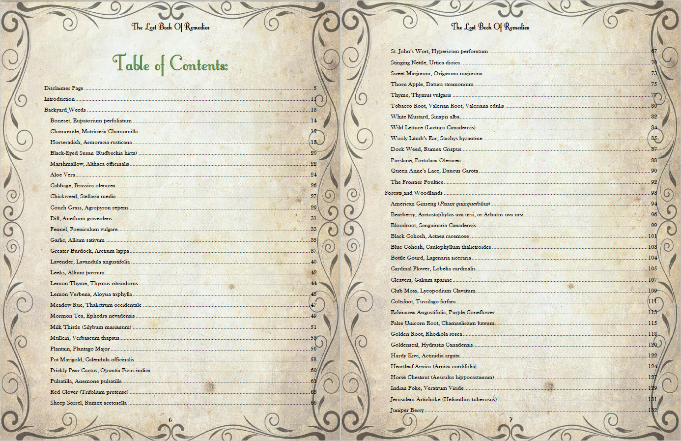 The Lost Book of Remedies' Table of Contents