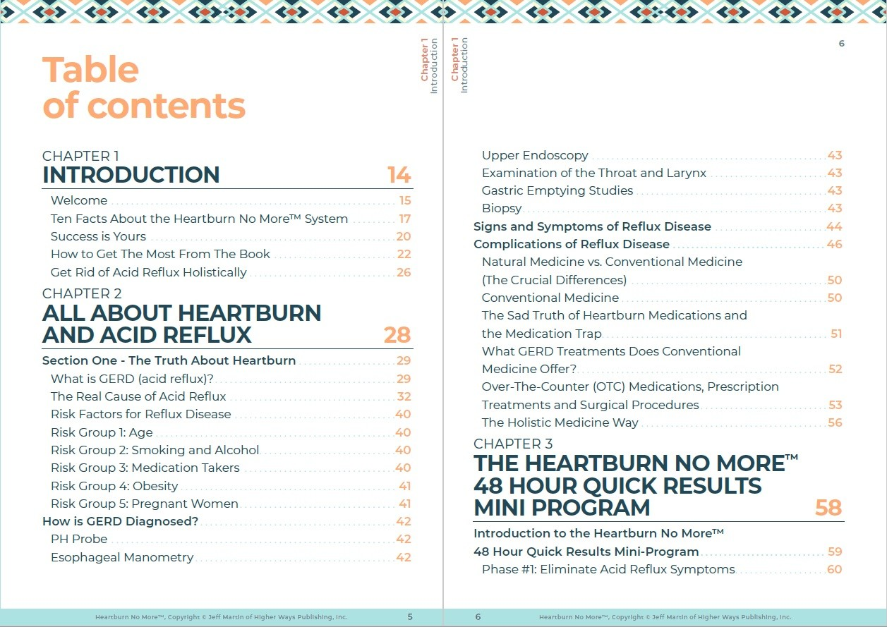 Heartburn No More Table of Contents