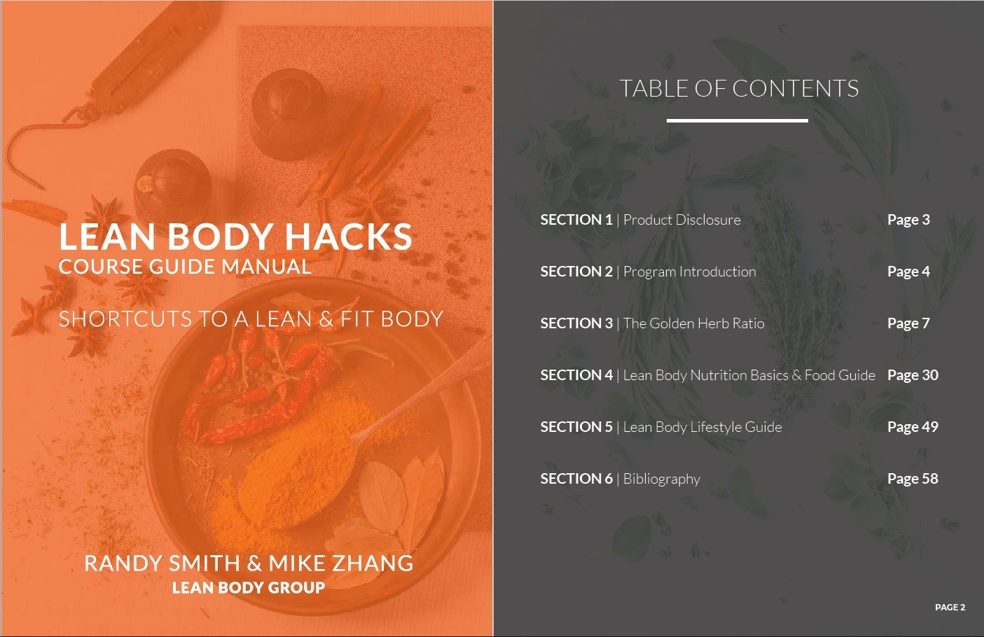 Lean Body Hacks Table of Contents
