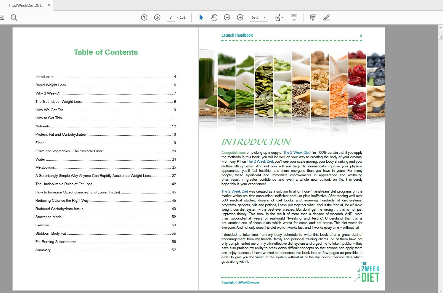 The 2 Week Diet System Table of Contents