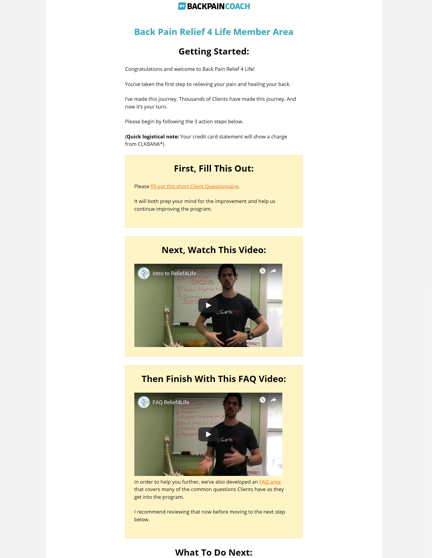 Back Pain Relief 4 Life Download Page