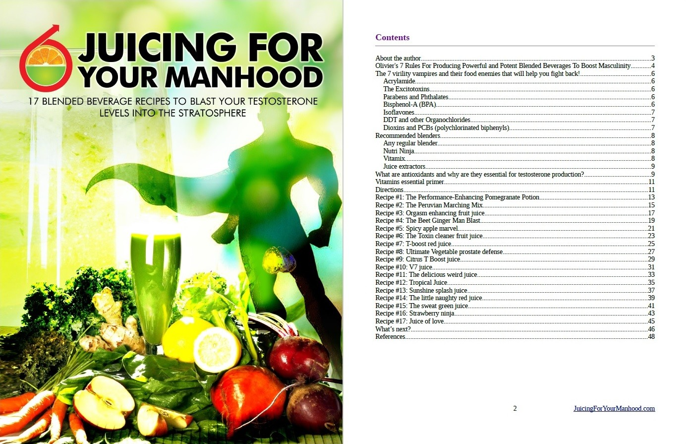 Juicing For Your Manhood Table of contents