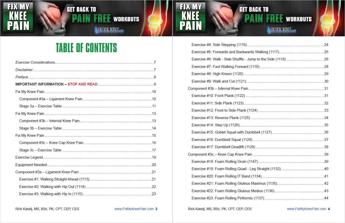 Fix My Knee Pain Table of Contents