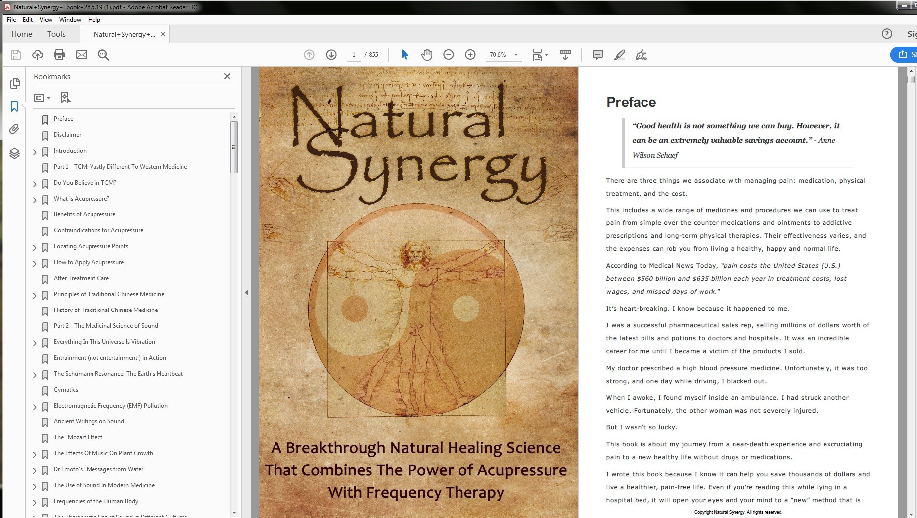 Natural Synergy Table of Contents