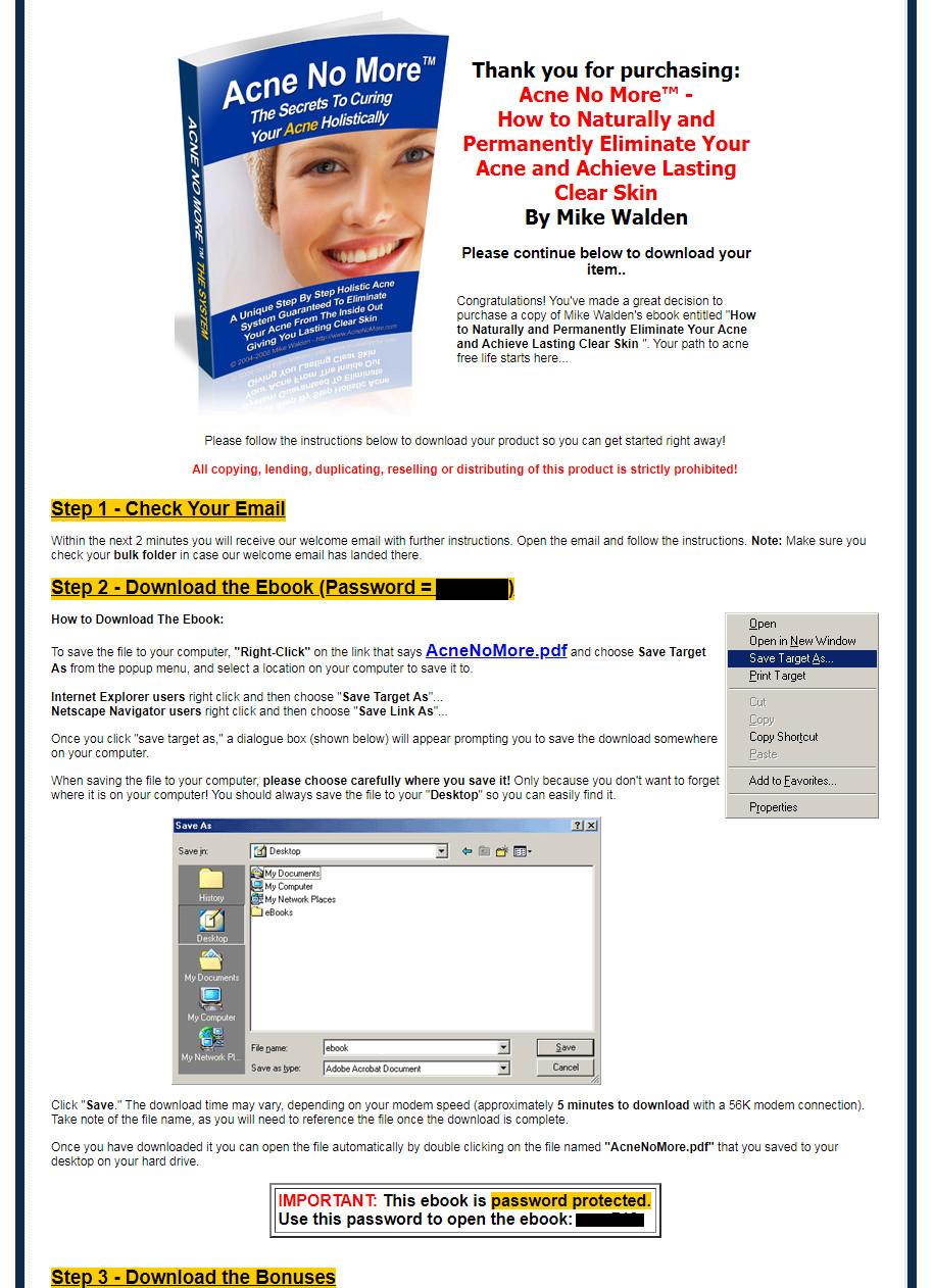 Acne No More Download Page