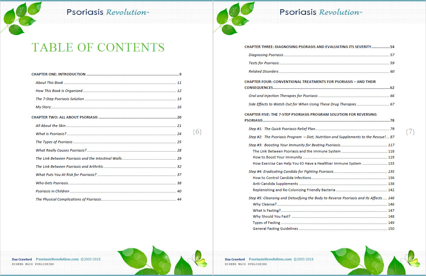 Psoriasis Revolution Table of Contents