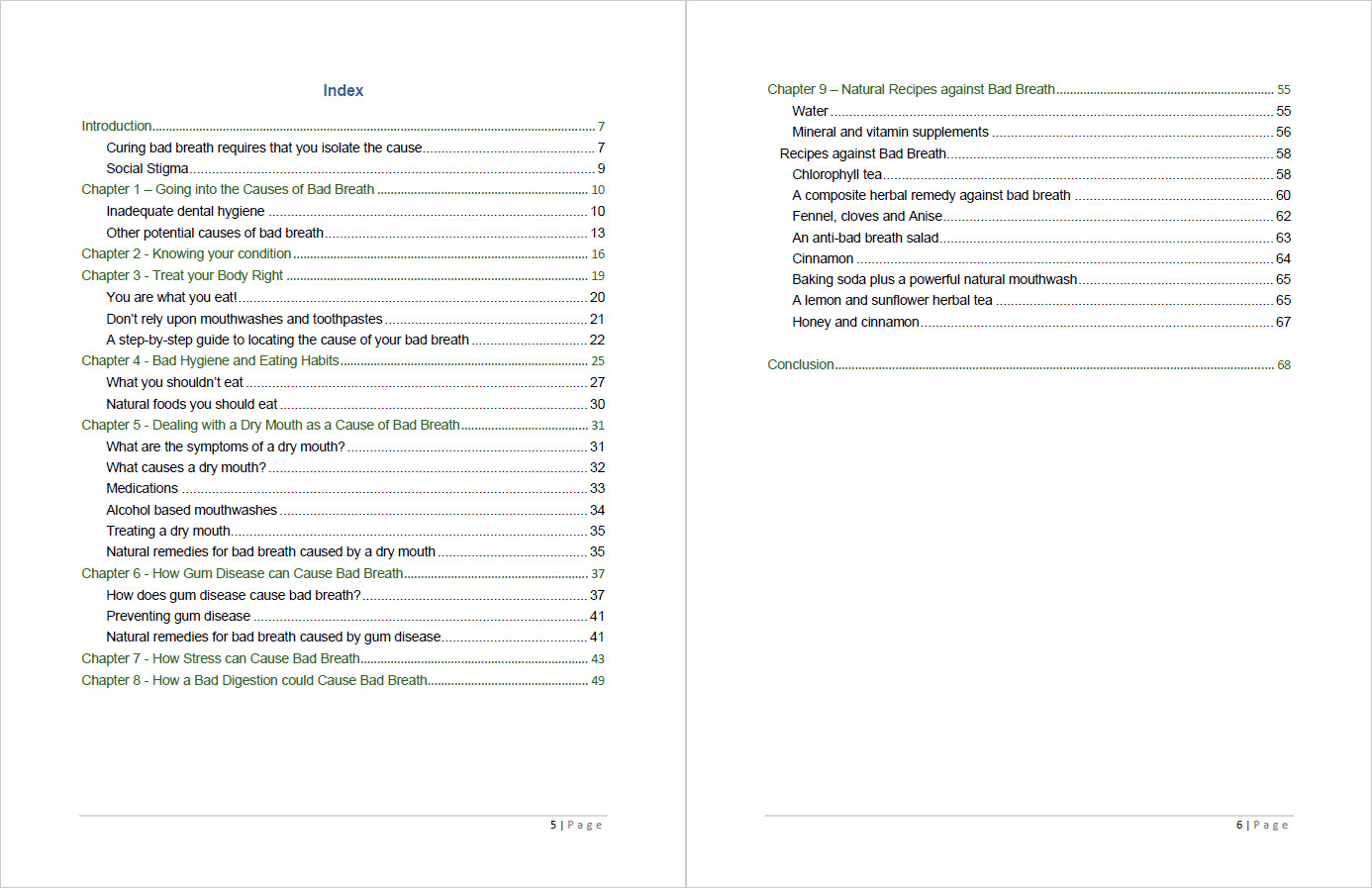 Bad Breath Free Forever Table of Contents