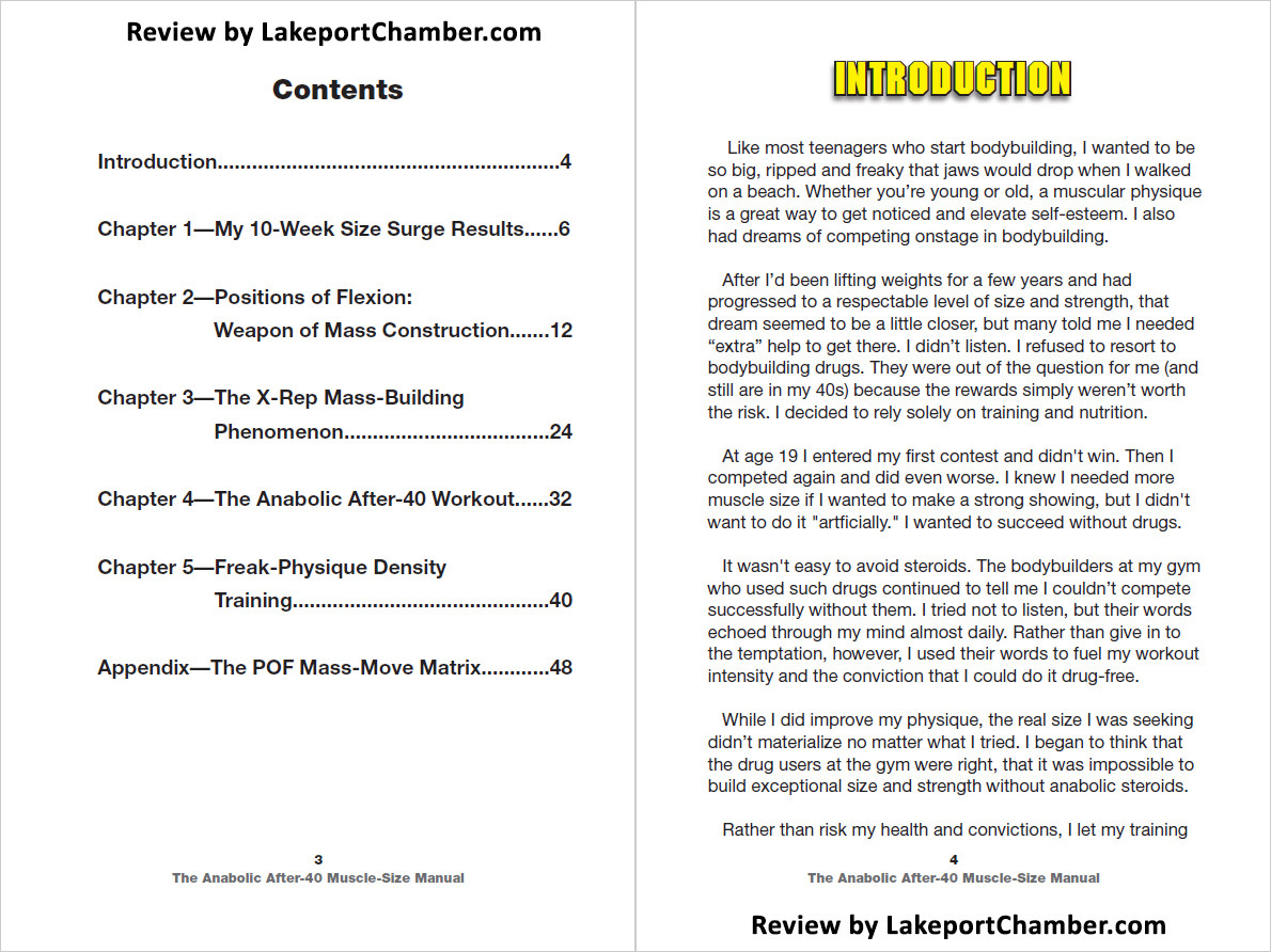 Anabolic After 40 Muscle Size Manual Table of Contents