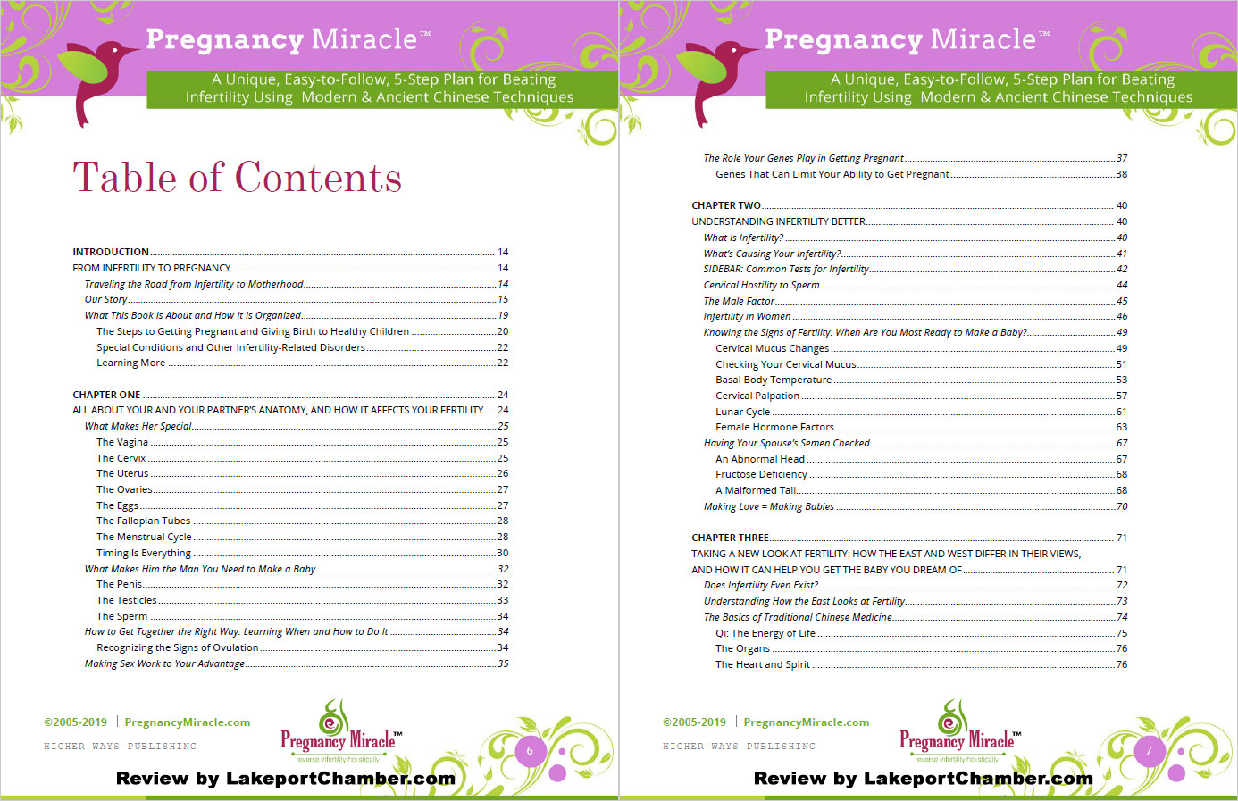 Pregnancy Miracle Table of Contents