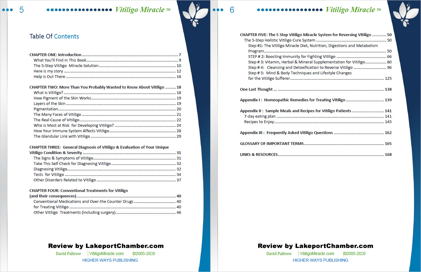 Vitiligo Miracle Table of Contents
